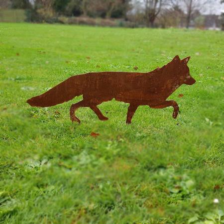 Deko Fuchs Metall - Garten Fuchs auf Jagd