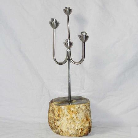 Kerzenleuchter Edelstahl mit versteinertem Holz Unikat