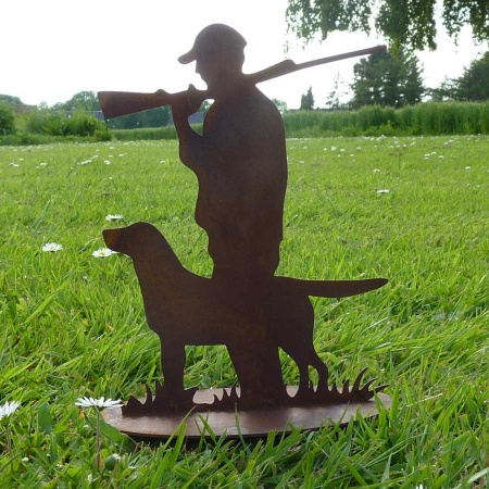 Jäger mit Hund aus Metall - Jagdhund & Jäger Rost