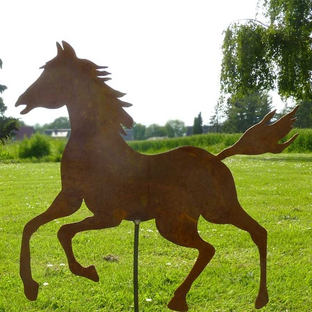 Großes Pferd Metall Garten mit 100 cm Bodenstecker