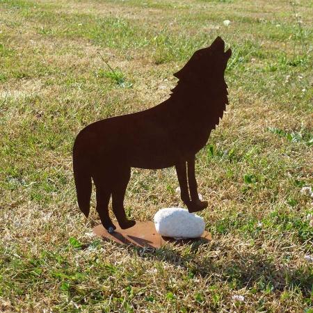 Deko Figur Wolf Metall stehend auf Stein