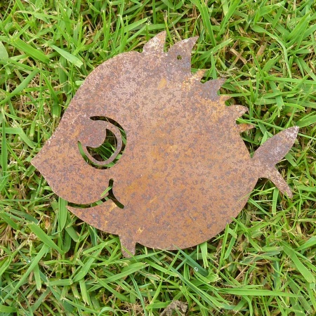 Deko Fisch Metall Edelrost Kugelfisch