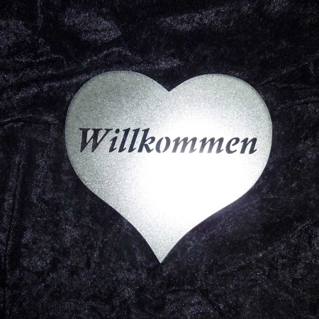 Edelstahl Herz Willkommen Deko Schild