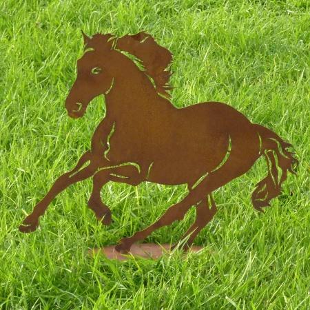 Deko Pferd Rost Standfuss Pferdefigur