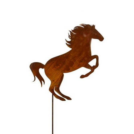 Pferdefigur Edelrost auf Stahl Stab Gartendeko Pferd