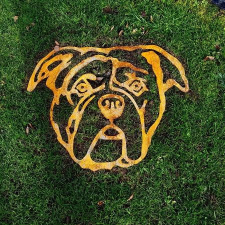 Bulldogge Metall Deko Figur - Kopf Bulldogge Wanddekoration