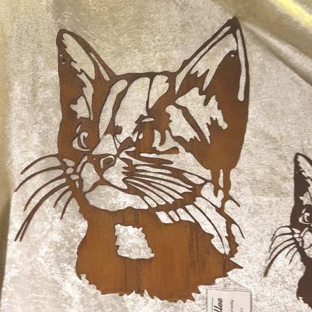 Kopf Katze Dekofigur Metall Rost