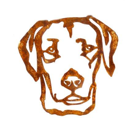 Labrador Kopf Metall Deko Figur Retriever