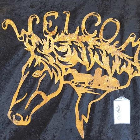 Metallschild Pferd Welcome Relief Pferdestall Bauernhof