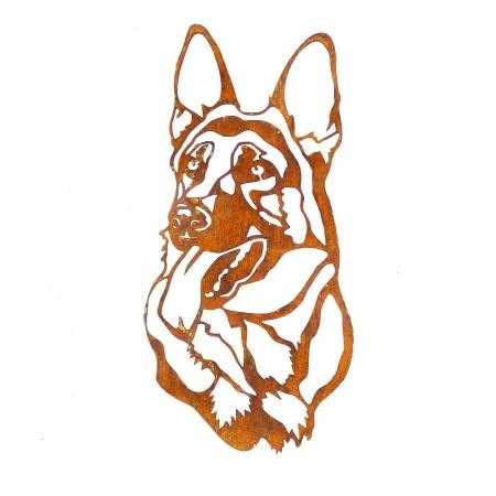 Schäferhund Kopf Dekofigur Metall mit Edelrost