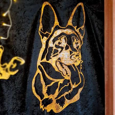 Kopf vom Schäferhund aus Metall als Dekofigur Wandbild