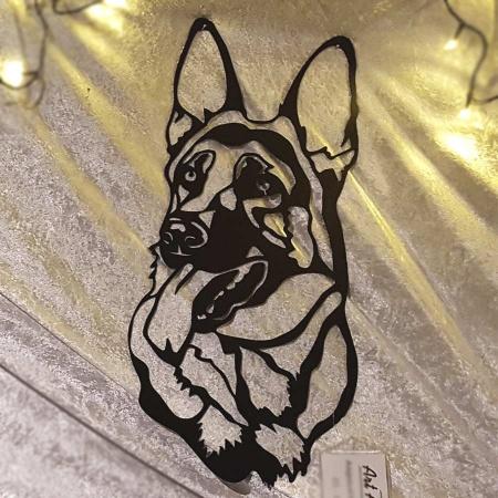 Kopf Schäferhund schwarz Metallschild