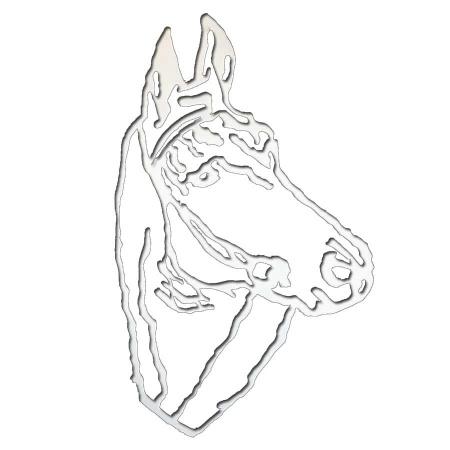 Pferdekopf aus Metall in weiss per Hand lackiert als Wanddeko