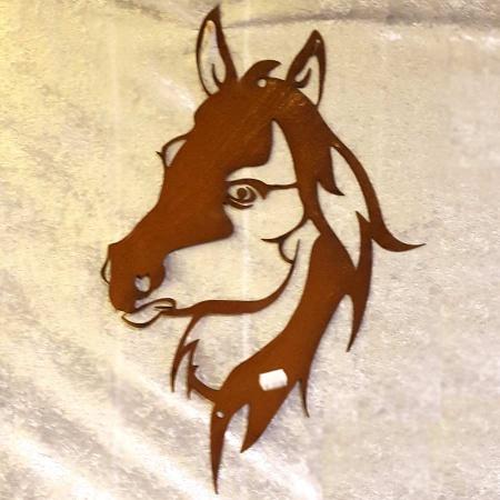 Metall Pferdekopf Wandbild Rost
