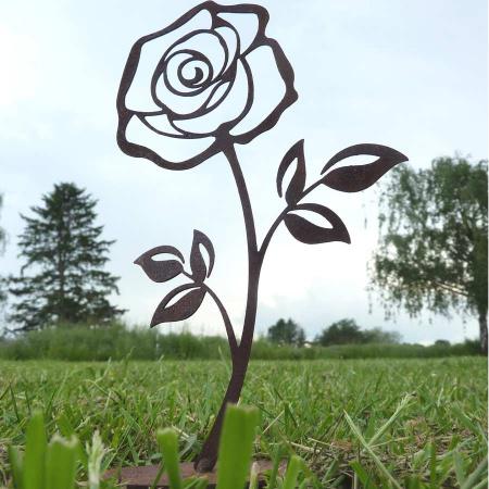 Metall Rose rostig gross Tischdeko Outdoor