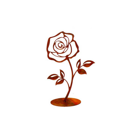 Metall Rose rostig mit Standfuss