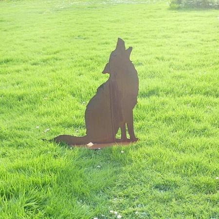 Heulender Wolf Metall Deko Stand Figur