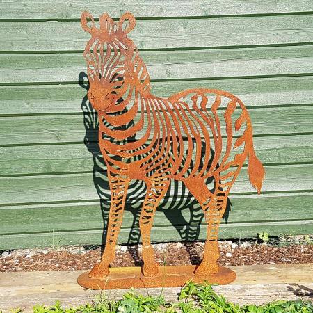 Metall Zebra Deko Figur Edelrost Garten
