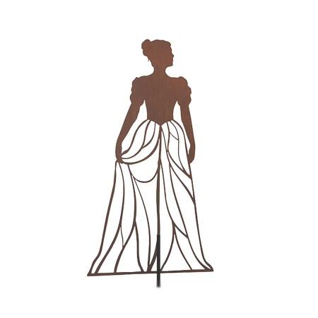 Design Rankhilfe Metall Figur Frau mit Kleid 120 cm