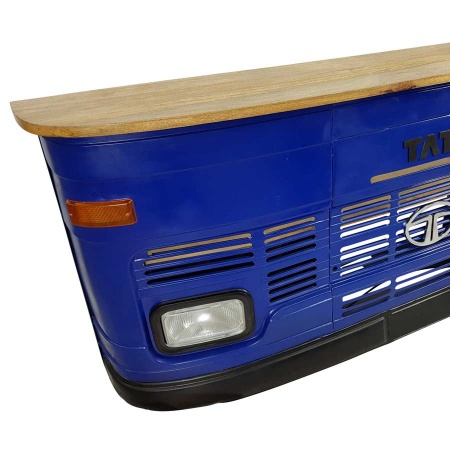 Vintage Tresen Metall blau Theke Massivholz 245 cm