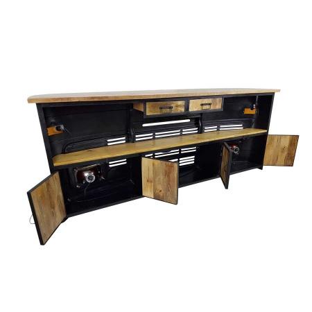 Design Bar Theke Vintage Metall grün LKW Front 245 cm