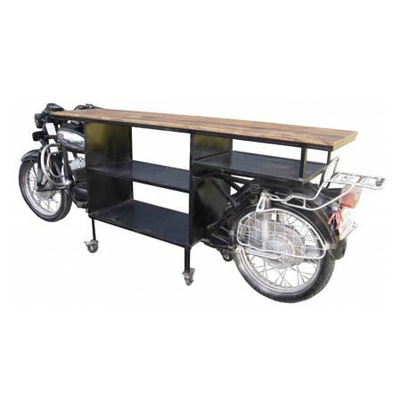 Motorrad Regal industrial Anrichte Metall Massivholz 260 cm