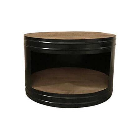 Beistelltisch rund Metall Ölfass Look recyceltes Holz