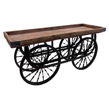 Rollwagen Blumenwagen grobes Holz Metall 160cm