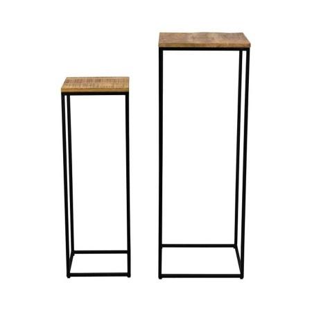 Beistelltisch Säule im 2er Set Metall Holz 110/90cm