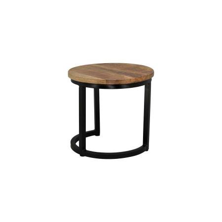Set Beistelltisch rund 3er Holz naturell Metall Vintage