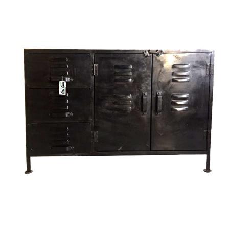 Vintage Metall Sideboard schwarz Platte recyceltes Altholz 120cm