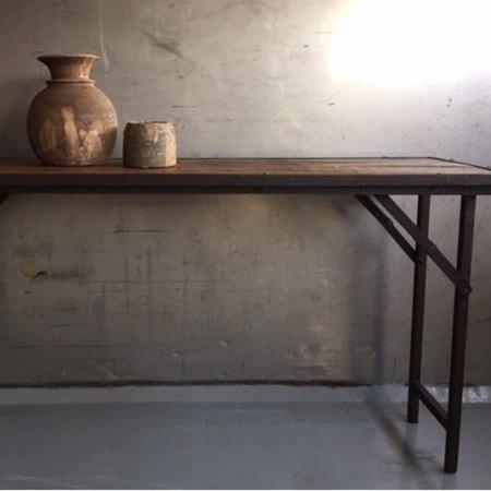Industrial Klapptisch Vintage altes Holz und Eisengestell 150x45 cm