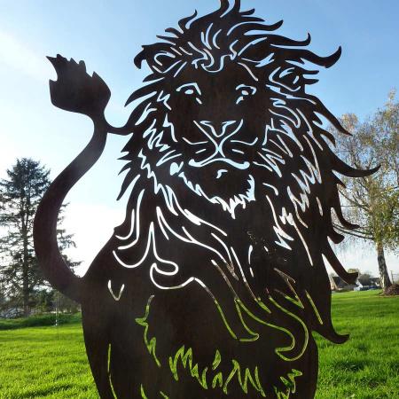 Löwe Deko Figur Rost Garten 100 cm hoch