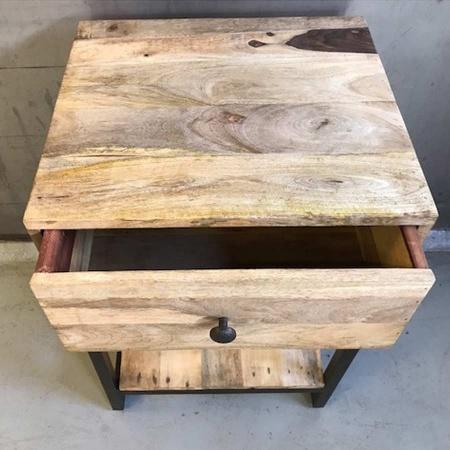 Nachttisch Vintage Altholz Nachtkommode Schublade & Ablagen