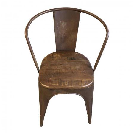 Retro Stuhl Metall Antikbraun Kolonial Vintage