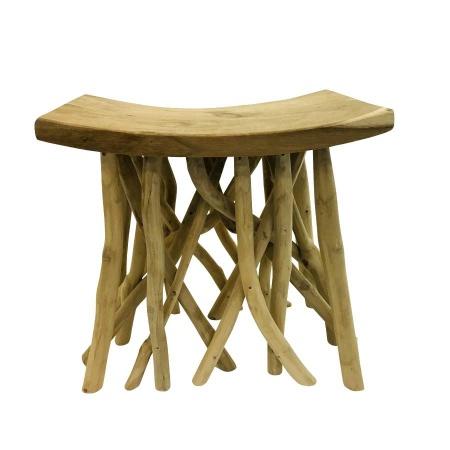 Sitzbank Teak Holz Schemel mit Ästen Sitzhocker mit Zweigen