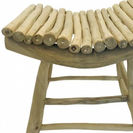 Teakholz Sitzhocker Handarbeit Schemel mit Ästen und Zweigen