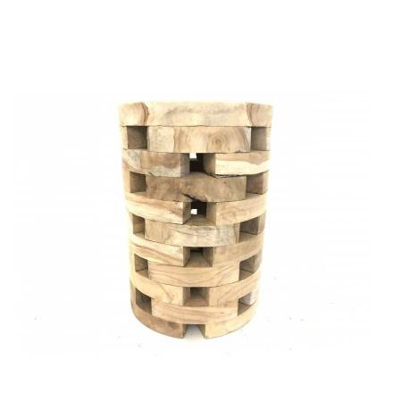 Hocker Teak Holz Blöcke Massiv Beistelltisch rund