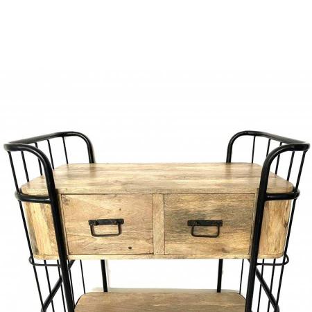 Vintage Trolley Anrichte Metallgestell 3 Ablagen und Holz Schubladen