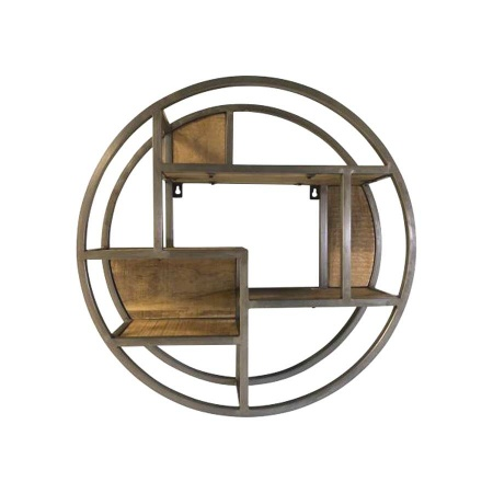 Industrial Wandregal Stahl Vintage rund 60 cm