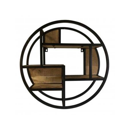 Industrial Wandregal Metall schwarz Vintage Holz rund 60 cm