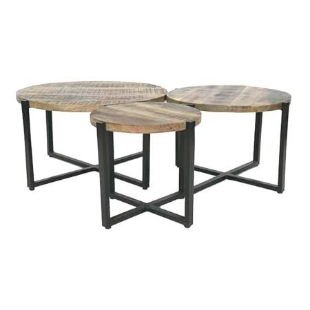 3er Set Beistelltische Holz Metallgestell rund