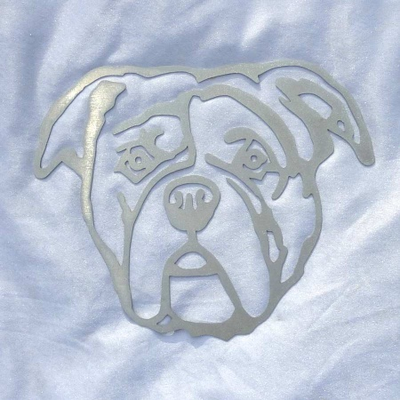 Bulldogge Edelstahl Dekofigur Wandbild
