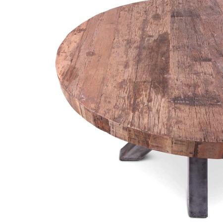 Holz Esstisch rund 140 cm im rustikalen Vintage Style