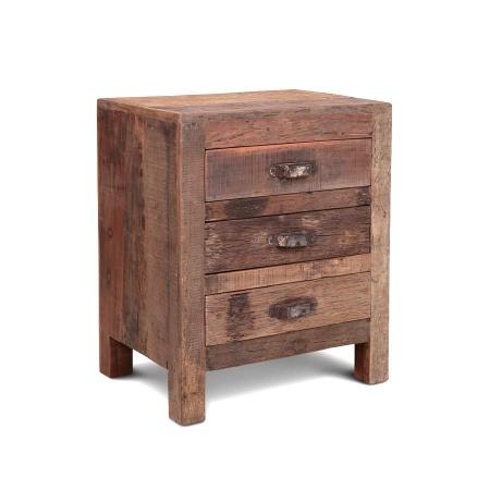 Holz Nachtkommode Vintage 3 Schubladen