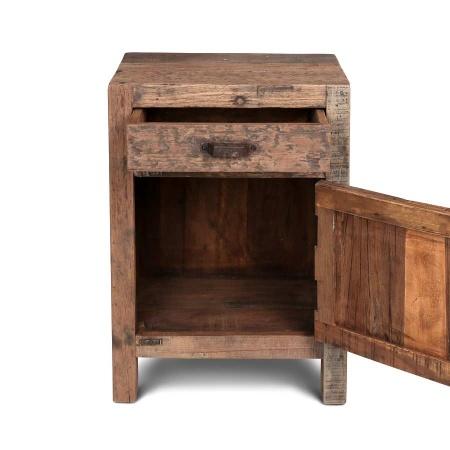 Nachttisch Altholz mit Schublade und Klapptür