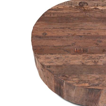Couchtisch rund Vintage Holz MassivO 90 cm