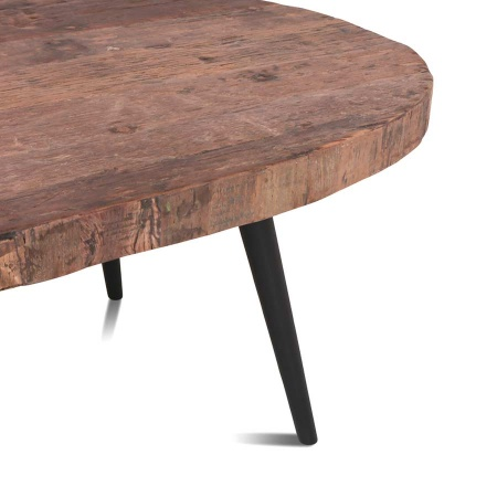 Couchtisch oval Vintage Holz MassivO 130 cm