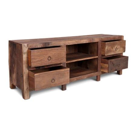 TV Board Vintage Holz MassivO 4 Schubladen 160 cm