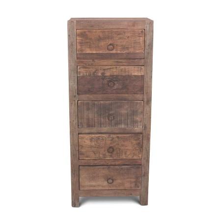 Hochkommode Vintage Holz MassivO 5 Schubladen 120cm